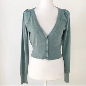 Anthropologie Moth Seafoam Cropped Cardigan
